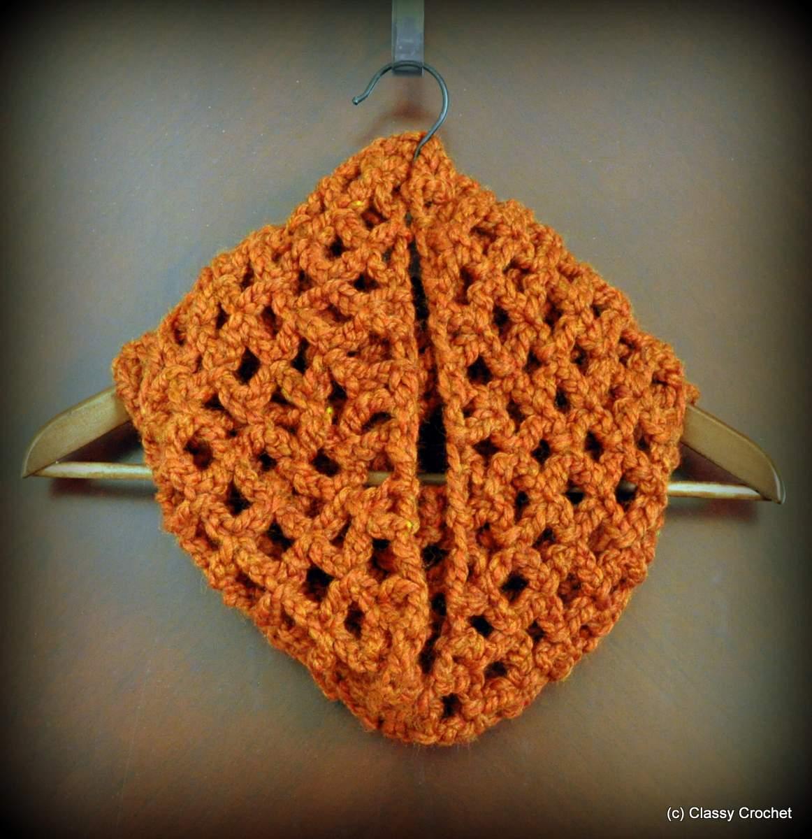 Free Pattern: Diamond Lattice Chain Crochet Infinity Scarf   Classy ...