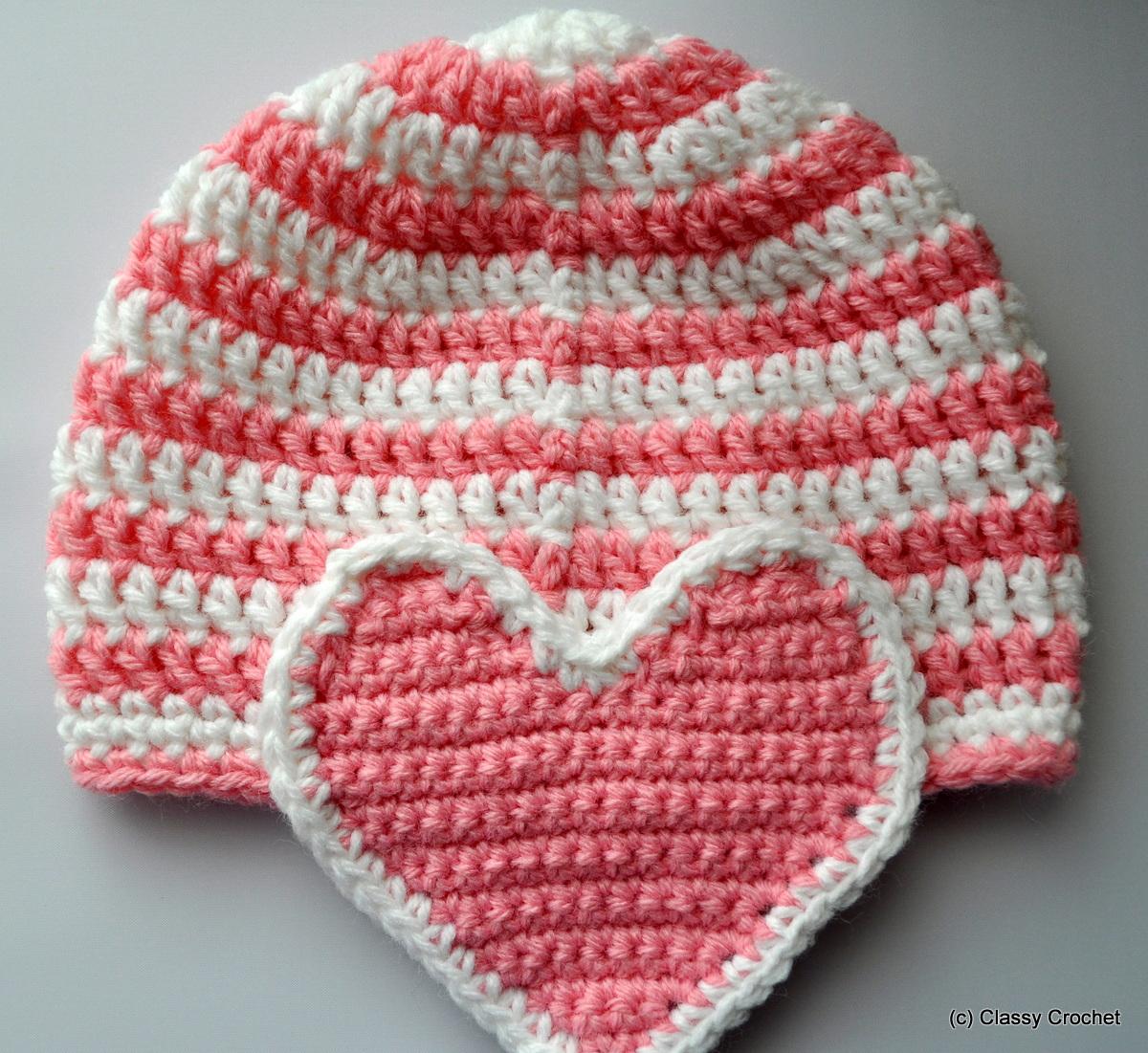 Free Pattern Crochet Valentine Heart Earflap Hat Classy Crochet