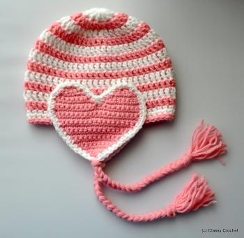 FREE Crochet Valentine Heart Earflap Hat Pattern • #crochet