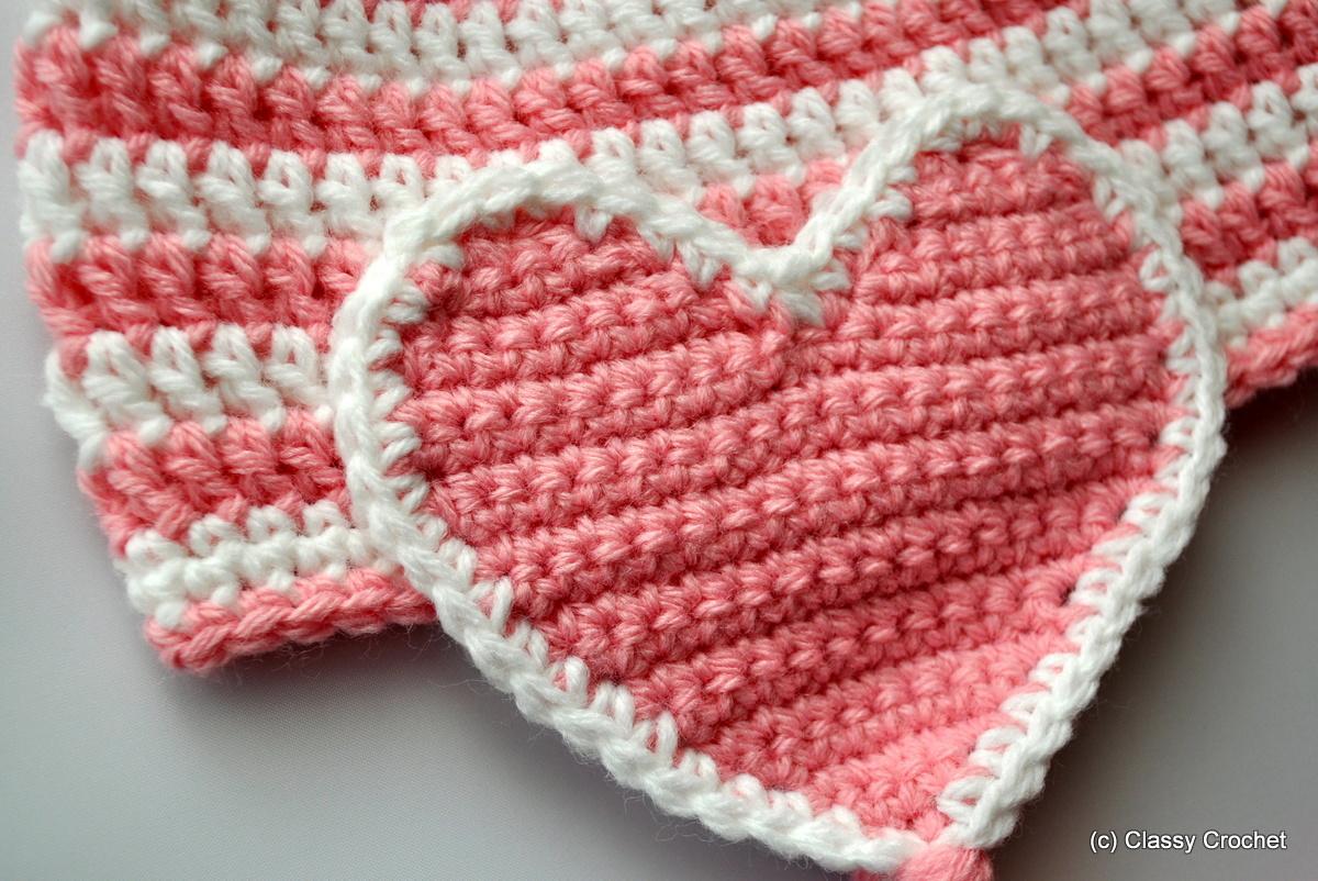 Free Pattern: Crochet Valentine Heart Earflap Hat Classy ...